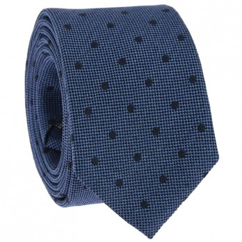 Blue Tie with Navy Blue Dots in Jaspe Silk