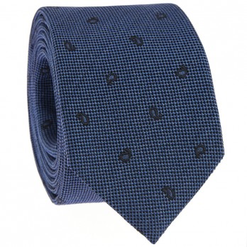 Blue Tie with Navy Blue Paisley Pattern in Jaspe Silk