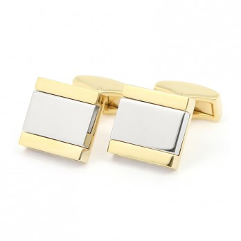 Gold and Silver Square Cufflinks - Minkebe