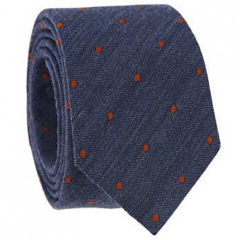 Navy Blue Tie with Orange Dots in Wool