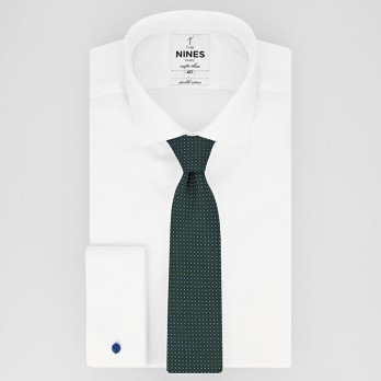 Green Tie with Squares in Jacquard Silk