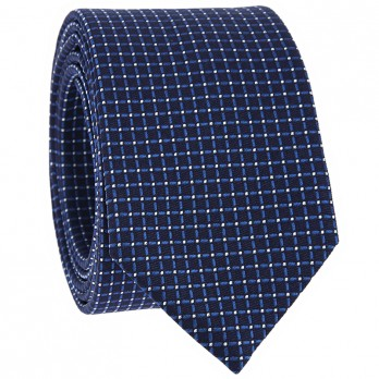 Blue Tie with Squares in Jacquard Silk