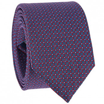 Red Tie with Squares in Jacquard Silk