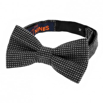 Grey Bow Tie in Silk and Wool Basket Weave