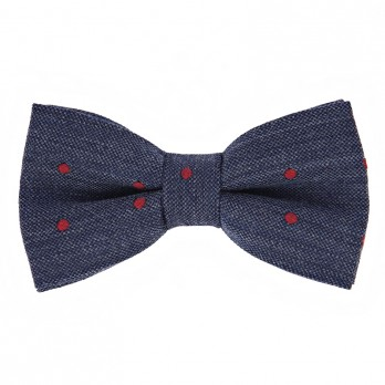 Navy Blue Bow Tie with Red Dots in Wool