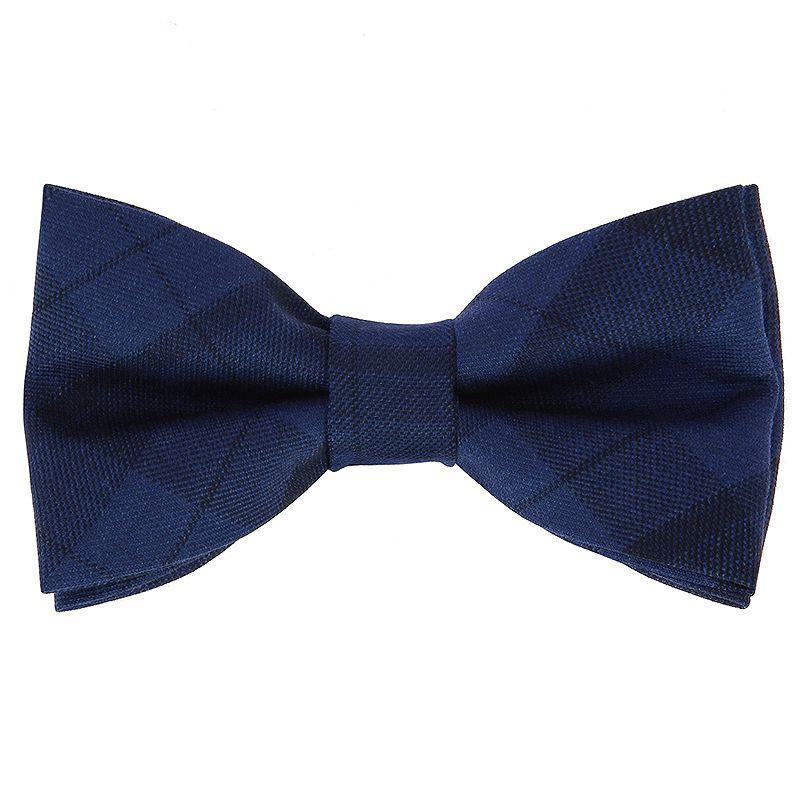Midnight Blue Tartan Bow Tie in Wool