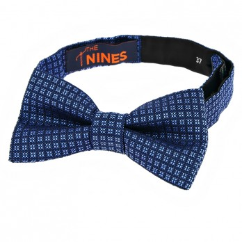 Navy Blue Bow Tie with Light Blue Diamond Pattern in Silk