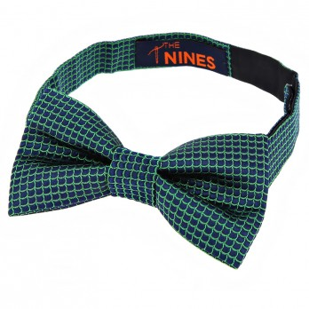 Navy Blue Bow Tie with Green Japanese Seigaiha pattern in Silk