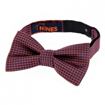 Navy Blue Bow Tie with Orange Japanese Seigaiha pattern in Silk
