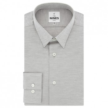 French collar shirt brushed cotton grey