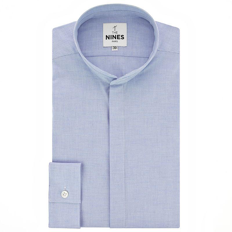 Light blue Mandarin collar flannel shirt with houndstooth pattern
