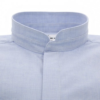 Mandarin collar shirt brushed cotton with houndstooth pattern light blue