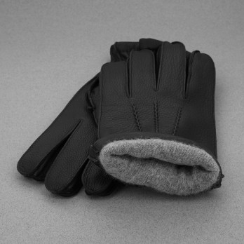 Black Deerskin Leather Gloves with Cashmere Lining