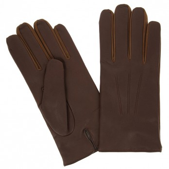 Brown Calfskin Leather Gloves with Cashmere Lining
