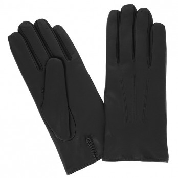 Black Calfskin Leather Gloves with Cashmere Lining