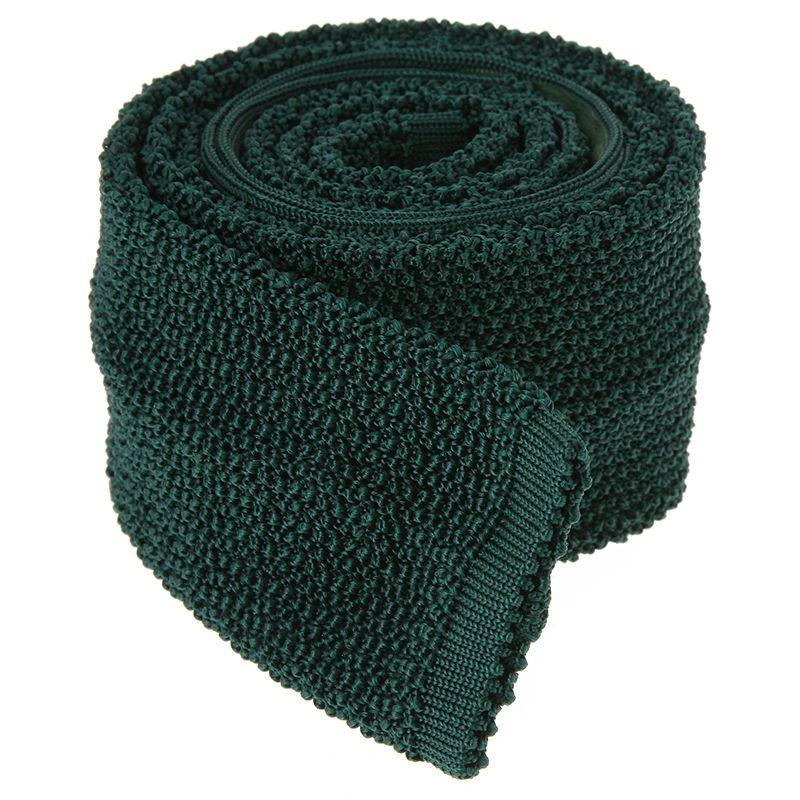 Dark Green Knit Tie - Crunchy