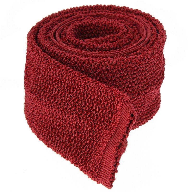 Garnet Red Knit Tie - Crunchy