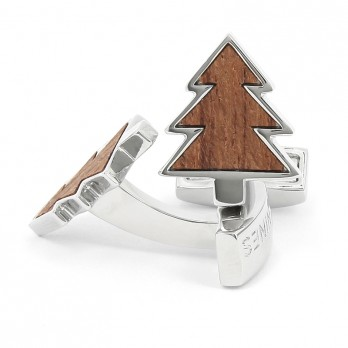 Wooden Christmas Tree Cufflinks - Megève
