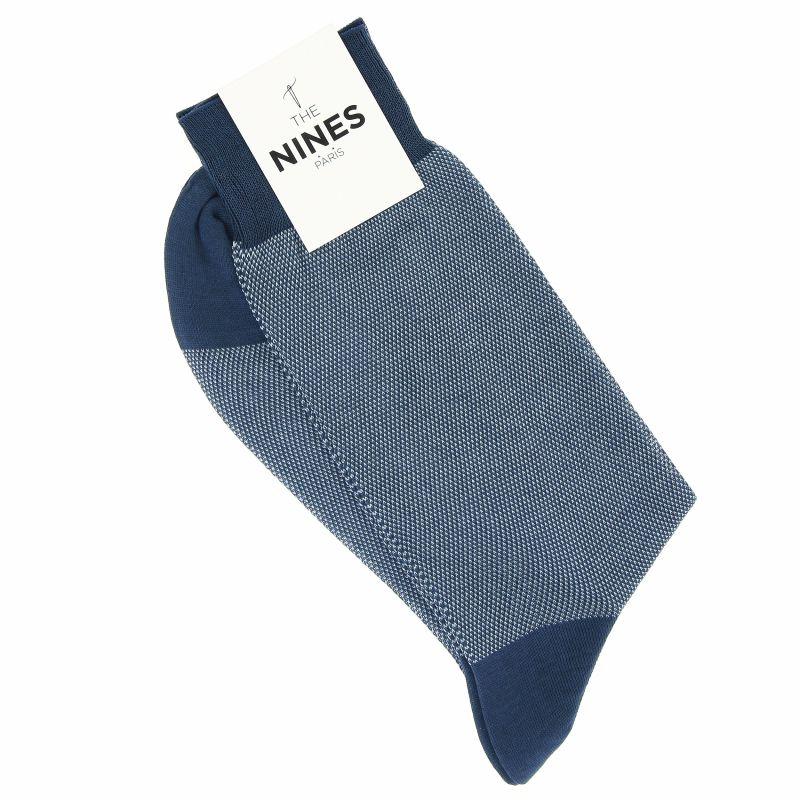 Steel blue cotton lisle birdseye socks