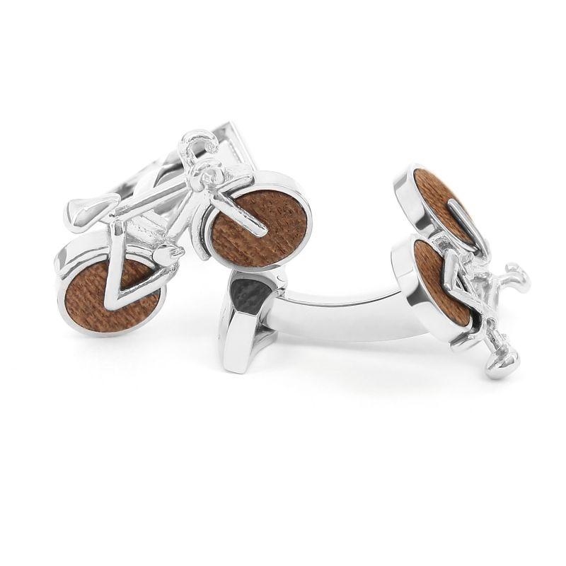 Wooden bike cufflinks