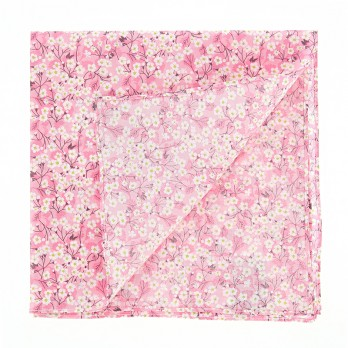 Pink Liberty pocket square with white flowers - Anemone