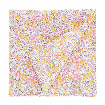 White Liberty pocket square with pink and yellow flowers - Dahlia