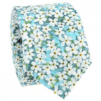 Turquoise Liberty tie with white flowers - Jasmin