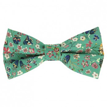 Green Liberty bow tie with flowers - Lily