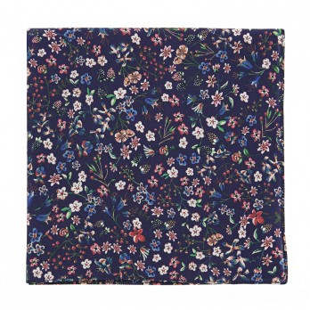 Navy blue Liberty pocket square with flowers - Lily