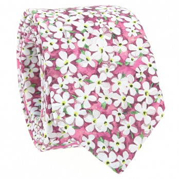 Pink Liberty tie with white flowers - Jasmin