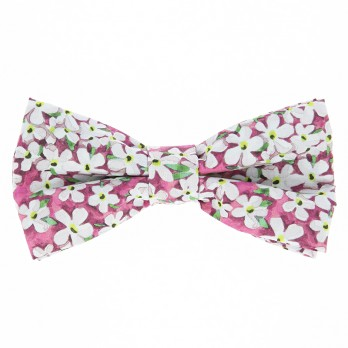 Pink Liberty bow tie with white flowers - Jasmin