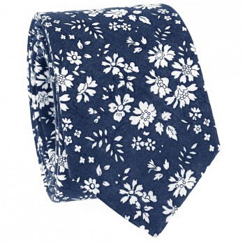 Navy blue Liberty tie with white flowers - Cornflower