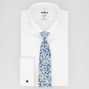Blue Liberty tie with white flowers - Jasmin