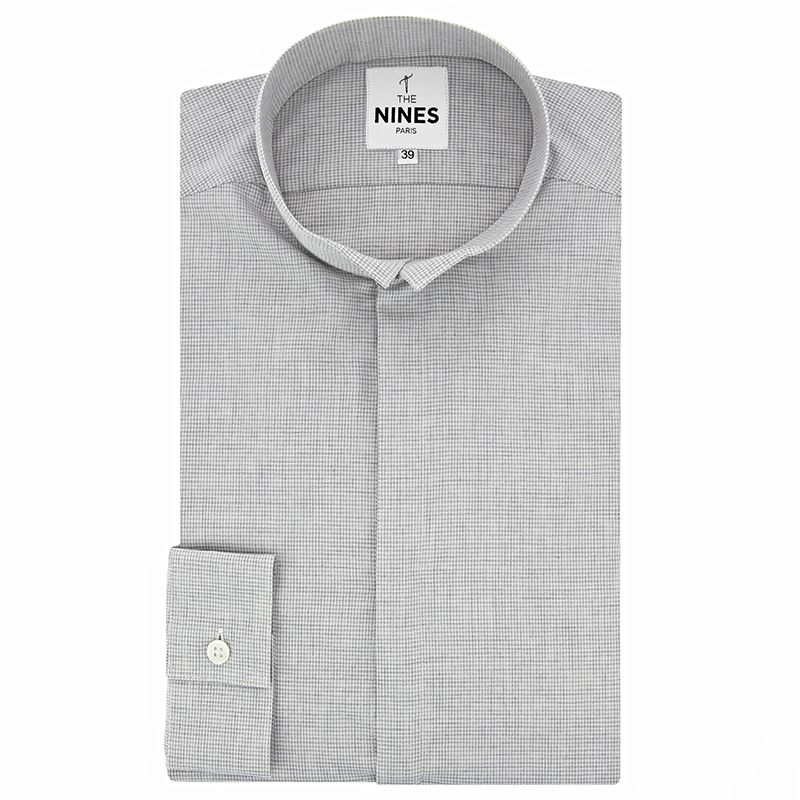 Grey reverse collar flannel shirt with houndstooth pattern
