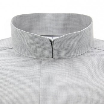 Reverse collar shirt brushed cotton with houndstooth pattern grey