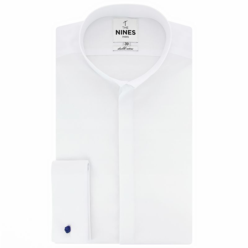 White French cuff shirt reverse collar