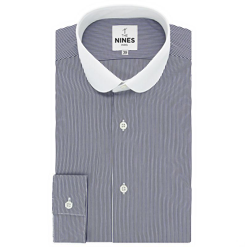 Club collar shirt with navy blue stripes