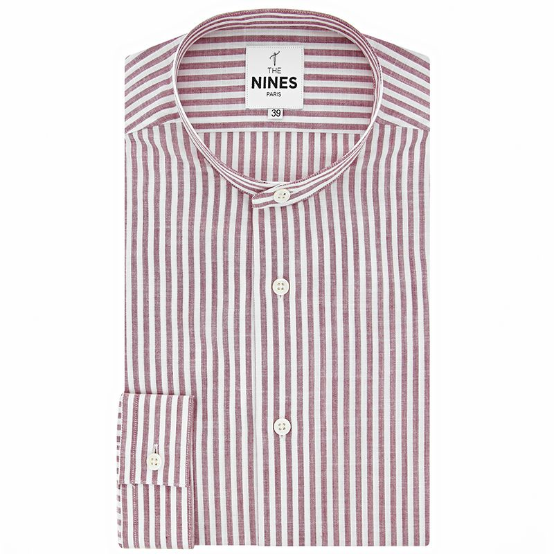 Band collar shirt with red stripes