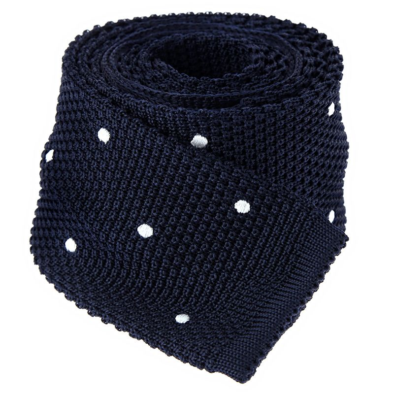 Navy blue silk knit tie with white polka dots