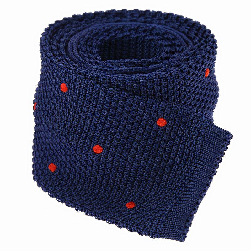 Blue silk knit tie with orange polka dots