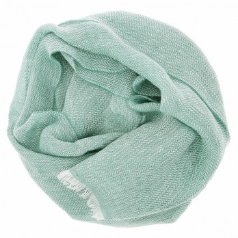 Linen scarf with herringbone pattern pale green