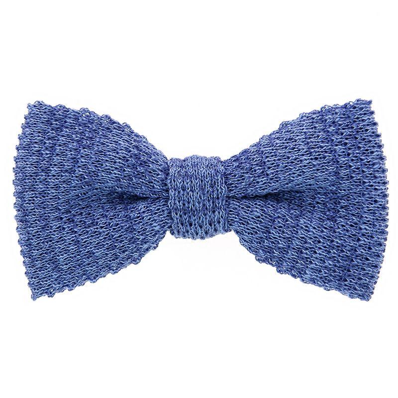 Knit bow tie linen azure
