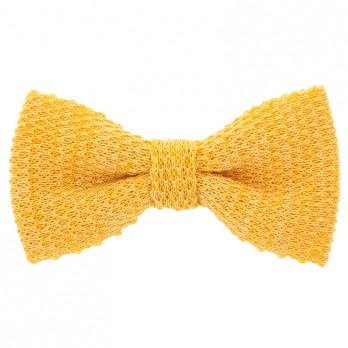 Knit bow tie linen yellow
