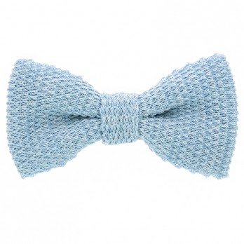 Knit bow tie linen light blue