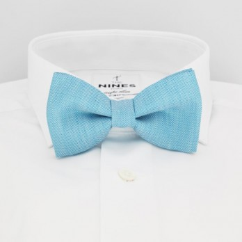 Turquoise Blue Bow Tie in Basket Weave Linen and Silk - Bergame