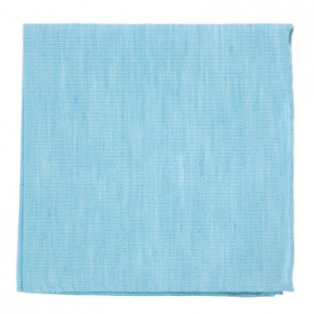 Turquoise Blue Pocket Square in Basket Weave Linen and Silk - Bergame