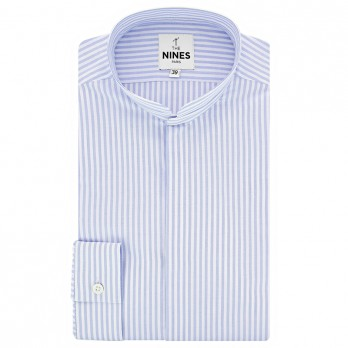 Mandarin collar shirt with white and light blue stripes