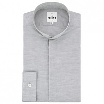 Mandarin collar shirt heathered grey