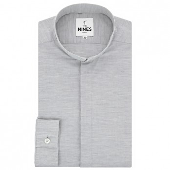 Reverse collar shirt heathered grey