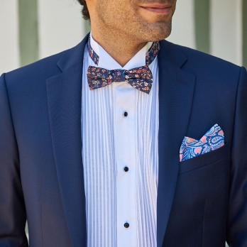 Navy blue Liberty bow tie with flowers - Lily